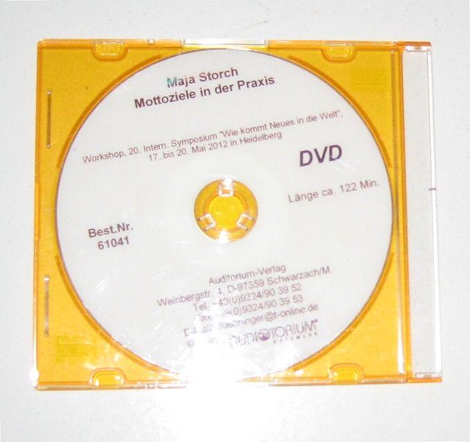 """Storch, Maja: DVD: Mottoziele in der Praxis. Workshop, 20. Intern. Symposium """"Wie kommt Neues in die Welt"""", 17. bis 20. Mai 2012 in Heidelberg."""