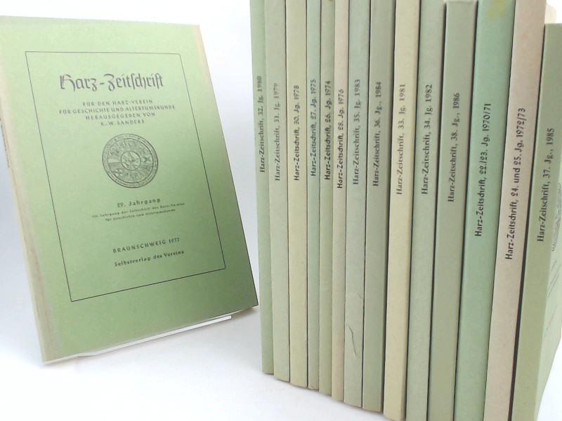 Sanders, K. W. (Hg.) und R. Busch (Hg.): Harz-Zeitschrift für den Harz-Verein - 15 Bände zusammen: vollständig 22. Jahrgang 1970 (103. Jahrgang der Zeitschrift des Harz-Vereins) bis 38. Jahrgang 1986 (119. Jahrgang der Zeitschrift des Harz-Vereins). Di...
