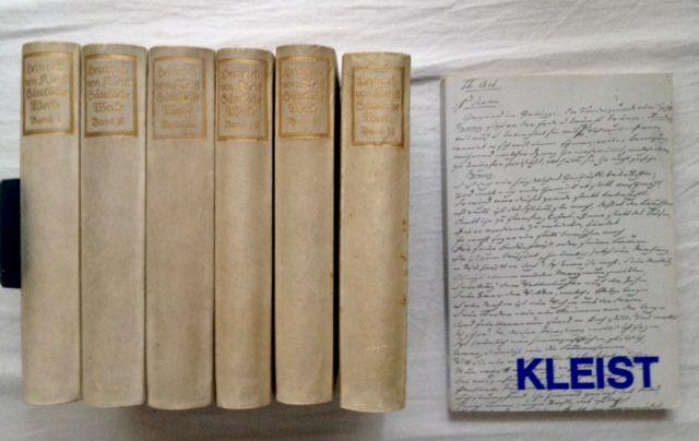Kleist, Heinrich von und Wilhelm Herzog (Hg.): Heinrich von Kleist - Sämtliche Werke und Briefe in sechs Bänden und Zugabe, sieben Bücher zusammen. Den Einband zeichnete E. R. Weiß.