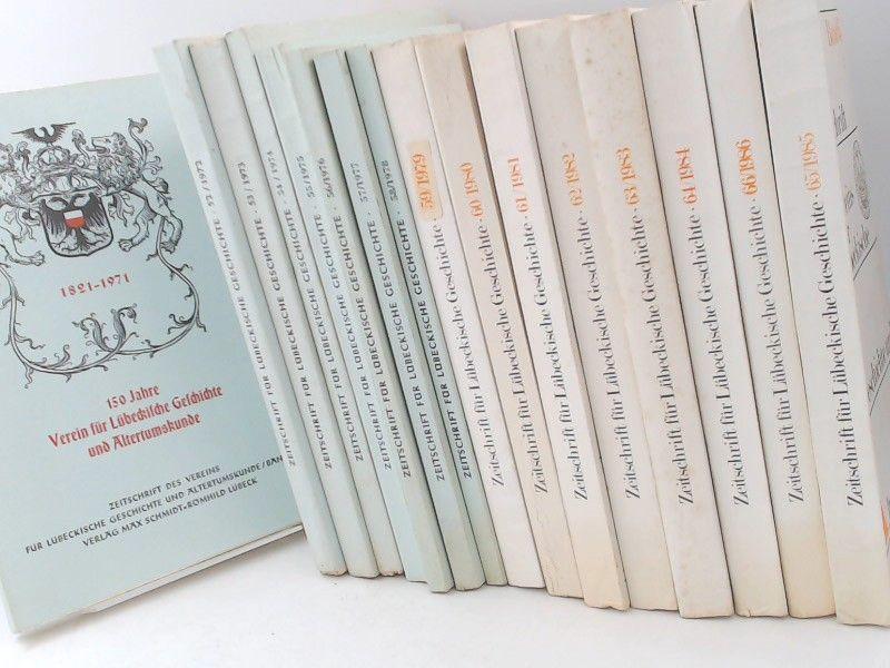 Verein für Lübeckische Geschichte und Altertumskunde (Hg.): Zeitschrift des Vereins für Lübeckische Geschichte und Altertumskunde (ZLGA) - 16 Bände von Band 51/1971 bis Band 66/ 1986 und 5 ZUGABEN (21 Bücher zusammen). Zugaben: 1) Systematisches Inhalt...