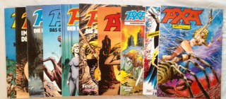 Avenell und Enrique Romero: AXA - 10 Hefte zusammen: 1) Band 3: Im Tal der Nebel; 2) Band 4: Im Garten des Todes; 3) Band 5: Die Dämonen der Nacht; 4) Band 6: Das Gesetz der Zigeuner; 5) Band 7: Der Hass der Mutanten; 6) Band 8: Die Insel des Grauens; ...