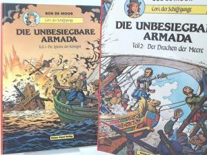 Moor, Bob de: Cori, der Schiffsjunge. Die unbesiegbare Armada - zwei Bände zusammen: Teil 1: Die Spione der Königin; Teil 2: Der Drachen der Meere.