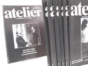 Fritzsche, Bence (Hg. + Red.) und Jo Will (Red.): Atelier. Die Zeitschrift für Künstler - Konvolut mit sieben Heften. Vorhandene Ausgaben: 1) Heft 37, 3/1988; 2) Heft 38, 4/88; 3) Heft 41, 1/89; 4) Heft 44, 4/89; 5) Heft 46, 6/89; 6) Heft 47, 1/90; 7) ...