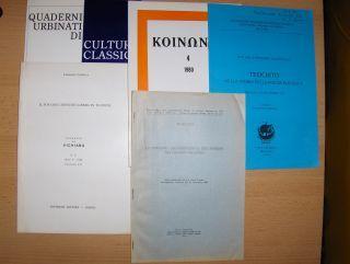"""KONVOLUT v. 5 HEFTE IN ITALIENISCH: Carmine Coppola """"IL TOY CON L`INFINITO LIBERO IN TUCIDIDE"""" aus VICHIANA Anno 9-Fasc. I-I (Napoli 1980) I-25 // Giuseppe Lozza """"PLUTARCHO, S. BASILIO E GLI USURAI"""" aus d. Studi Tardoantichiti 4 (1980)"""