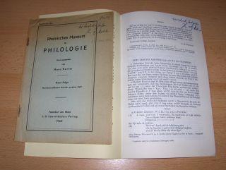 """Mette, Hans Joachim: 2 TITELN v. H.J. METTE : """"CATULL CARM. 4"""" S.153-157 aus Rheinisches Museum für Philologie, 1962 // """"ZWEI TRAGICA ADESPOTA (524.116 N.2) AUS EURIPIDES"""" S.505-506 aus HERMES 102.Bd., 1974. + 2 AUTOGRAPHEN *. Sonde..."""