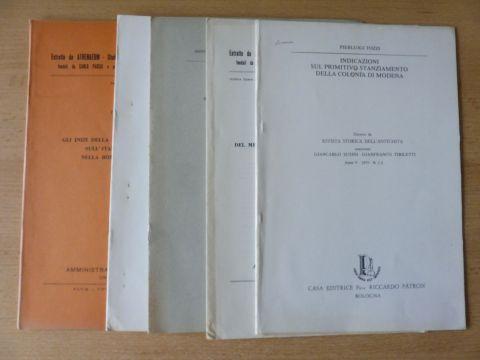 """Tozzi, Pierluigi: 5 TITELN VON PIERLUIGI TOZZI : """"INDICAZIONI SUL PRIMITIVO STANZIAMENTO DELLA COLONIA DI MODENA"""" aus Rivista Storica Dell`Antichita Anno V - 1975 N.1.-2 S.47-52 mit 1 Plan // """"SUL CONFINE OCCIDENTALE DI PLACENTIA"""" aus"""