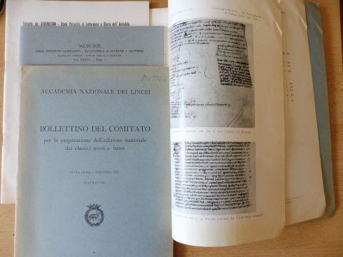 "Mazzoli *, Giancarlo: KONVOLUT VON 4 TITELN v. G. MAZZOLI : ""FELICITAS SILLANA E CLEMENTIA PRINCIPIS"" S.257-279 aus ATHENAEUM, N.S. Vol. LV Fasc. III-IV 1977 // ""SUL PROTRETTICO PERDUTO DI SENECA: LE EXHORTATIONES"" 47 S. abgeschl. aus"