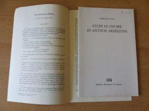 """Erbse, Hartmut: 2 TITELN v. H. ERBSE : """"PROPERZ III 2 3 UND OVID AM. I 11-12*"""" S.331-354 aus STUDI IN ONORE DI ANTHOS ARDIZZONI (Papier nachvergilbt) / """"Zwei homerische Wörter"""" S.130-136 aus GLOTTA LXXI. Bd. 3.-4.-Heft.1993 Sonderdr..."""