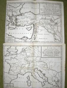 2 Cartes / 2 (Kupferstiche)-Karten von J.B. Nolin * : CARTE DE LA PARTIE OCCIDENTALE / CARTE DE LA PARTIE ORIENTALE DE L` EMPIRE ROMAIN - Dressee...pour Servir a la VIE de L` EMPEREUR JULIEN (Verfasser war l` Abbe de la Bleterie - 1696-1772).