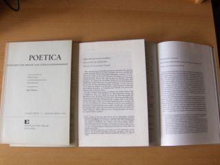 """Maurer (Hrsg.), Karl: KONVOLUT VON 3 HEFTE POETICA - ZEITSCHRIFT FÜR SPRACH- UND LITERATURWISSENSCHAFT (3.Band 2 Hefte v. 1970 / 16.Bd. Heft 3-4). Sonderdruck - Estratto - Extraits: """"Besprechungen"""" / Eilhard Schlesinger """"Erhaltung im Unt..."""