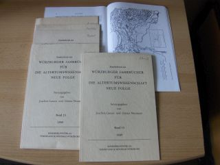"""Schmitt, Arbogast, Vinzenz Buchheit Otto Lendle u. a.: KONVOLUT von 7 TITELN aus WÜRZBURGER JAHRBÜCHER FÜR DIE ALTERTUMSWISSENSCHAFT MIT JE EINE WIDMUNG: Vinzenz Buchheit """"Unglaube und Schuld - Tert. apol.40,10"""", Bd.15, 1989, S.203-208 // Mar..."""