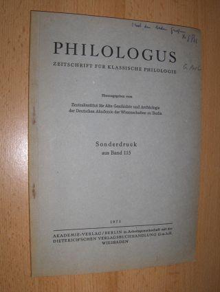 Perl *, Gerhard: DIE EINFÜHRUNG DER GRIECHISCHEN BUCHSTABEN Y und Z in DAS LATEINISCHE ALPHABET. + 1 AUTOGRAPH. Sonderabdruck - Sonderdruck - Estratto aus PHILOLOGUS - ZEITSCHRIFT FÜR DAS KLASSISCHE ALTERTUM, Band 115.