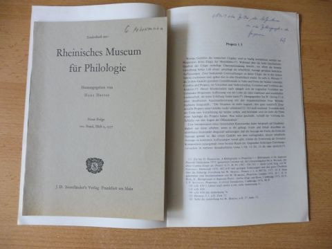 """Petersmann *, Gerhard: 2 TITELN v. G. PETERSMANN : """"DIE ROLLE DER POLYXENA IN DEN TROERINNEN DES EURIPIDES"""" S. 146-158 aus Rheinisches Museum für Philologie N.Folge 120. Bd., Heft 2, 1977 / """"Properz I 3"""" aus LATOMUS - REVUE D`ETUDES..."""