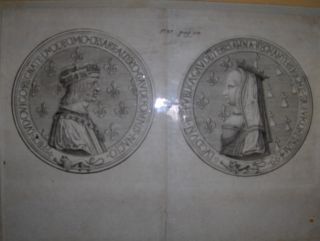 Gaiilard (?) und J. Robert (?): PORTRAITS-MEDAILLONS (Lateinische Schriftzug) von KÖNIG LUDWIG XII (Louis XII, Roi de France) u. ANNE DE BRETAGNE (Königin v. Frankreich *) - ORIGINAL-KUPFERSTICH auf Büttenpapier der Zeit - Bildgr.: 20 x 26 cm. auf leic...