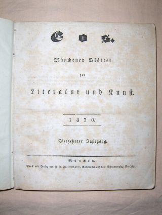 Herbst (Redakt.), Ferd.: COS. Münchener Blätter für Literatur und Kunst. Vierzehnter Jahrgang. 1. Quartal 1830. In necessariis unitas - In dubiis libertas - In omnibus caritas (Augustinus).