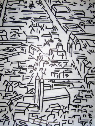 """Original-Radierung (Hrsg.), Verein für: ORIGINAL-LITHOGRAPHIE (auf dünnes China-Papier) : mit Bleistift betitelt : """"Stadtbild München (Ltg)"""" - Signiert (B. Hoffmann) u. Numer. 36/140 *."""