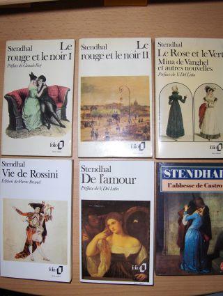 """Stendhal, Friedrich von: 6 Livres de Poche / 6 TASCHENBÜCHER in franz.-Sprache: """"Le Rose et le Vert"""" - """"Le rouge et le noir I + II"""" - """"L`abbesse de Castro"""" - """"Vie de Rossini"""" - """"De l`amour""""."""