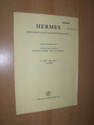 Buchheit *, Vinzenz: NON HOMINI SED DEO (Cypr. Don. 3-4). + AUTOGRAPH *. Sonderdruck - Estratto - Extraits aus HERMES - ZEITSCHRIFT FÜR KLASSISCHE PHILOLOGIE, 117. Band, 2. Quartal. Heft 2.