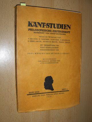 """Menzer (Hrsg.), Paul, Arthur Liebert Fritz Heinemann u. a.: KANT-STUDIEN - PHILOSOPHISCHE ZEITSCHRIFT * - BAND XXXI - HEFT 4 mit u.a. 26 Abhandlungen (z.b. v. Arthur Liebert """"Zur Logik der Gegenwart"""", v. Fritz Heinemann """" Die Geschichte der"""