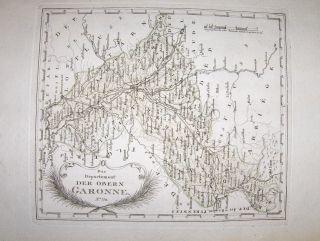 Reilly, Franz Johann Joseph von: Farb. Alte grenzkolorierte Kupferstich-Karte : Das Departement DER OBERN GARONNE N° 770.