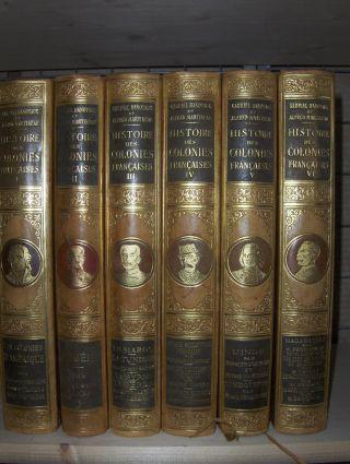Hanotaux (Hrsg.), Gabriel und Alfred Martineau (Hrsg.): HISTOIRE DES COLONIES FRANCAISES ET DE L`EXPANSION DE LA FRANCE DANS LE MONDE. 6 Volumes / 6 Bände *.