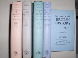 WRITINGS ON BRITISH HISTORY 1901-1933. 5 Volumes. A Bibliography of books and articles on the history of Great Britain from about 400 A.D. to 1914, published during the years 1901-1933 inclusive, with an Appendix containing a select list of publications i