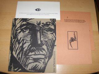 """Nerdinger *, Eugen: KONVOLUT EUGEN NERDINGER: 1) DIE N*-WERKLISTE 1910-1970 // 2) PRESSEDRUCK - ANDREAS GRYPHIUS """"Die fünf Sonette auf die Vergänglichkeit"""" 1946, 8 S., 19 x 15, 4 cm, mit einem Titelholzschnitt von Eugen Nerdinger (v. 200 Expl..."""
