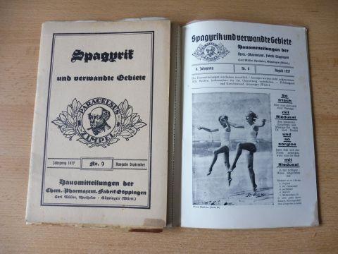 Müller (Apotheker), Carl: ZEITSCHRIFT FÜR SPAGYRIK und verwandte Gebiete. 8. Jahrgang Nr. 8 u. Nr. 9 August u. September 1937 (Konvolut v. 2 Hefte) *. Hausmitteilungen der Chem.-Pharmazeut. Fabrik Göppingen.