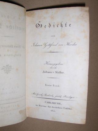 Herder, Johann Gottfried von und Johann v. Müller (Hrsg.): Gedichte. Erster Band.