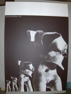Fischer *, Lothar: LOTHAR FISCHER - ORIG.-FARBSERIGRAPHIE MIT BLEISTIFT HANDSIGN. u. DATIERT 69. (Dkl.-Brauntöne- nach Fotos e. Skulptur).