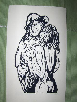 """ORIGINAL-Kl. GRAPHIK aus der ILLUSTRATION 63 : Original-Linolschnitt von Jan Prein zu Guy de Maupassant """"Pauls Frau"""". Mit Bleistift unten rechts handsigniert."""