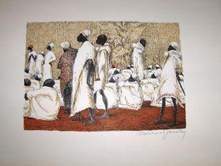 """MEINHARD JACOBY *. ORIGINAL-LITHOGRAPHIE (farb.): """"Schauri"""" Gerichtssitzung in Ostafrika. Handsigniert unt.-rechts mit Bleistift, nicht betitelt."""