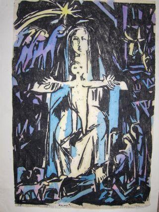 """RUTH M. KIENES *: ORIGINAL -3FARBIG.-LINOLSCHNITT (Handabzug) - """"Die Heilige Familie"""" - Handsigniert unt.-rechts mit Bleistift, links: Bezeichnung."""