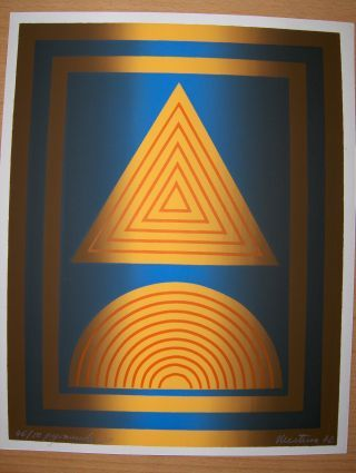 """*. : Original 3 Farb.-LINOLSCHNITT. Betitelt """"Pyramide XIX """" - Signiert u. dat. unten rechts - Numer. 46/50 links unten."""