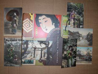 KONVOLUT JAPANISCHE POSTKARTEN : 1) BUCH / BOOK : ART OF THE JAPANESE POSTCARD * + 7 FARB. ORIGINAL-POSTKARTEN um 1905 von NAGASAKI (s/w. Fotos die koloriert wurden oder farb.-Fotografien der Zeit) - Strasse, zwei Tempeln u. Geishas Frauen in japan.-Kleid