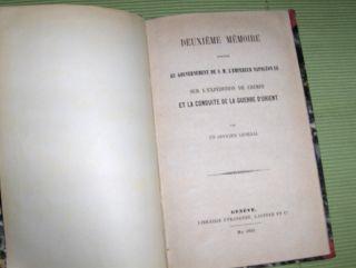 Tavernier: Deuxieme Memoire adresse au gouvernement de S.M. L` Empereur Napoleon III sur l' Expedition de Crimee et la conduite de la Guerre d` Orient par un Officier General.