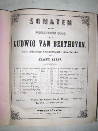 SONATEN für das Pianoforte von LUDWIG VAN BEETHOVEN. (Erste vollständige Gesammtausgaben) unter Revision von FRANZ LISZT. Heft 11. (21) bis Heft 18 (29) *. 8 Hefte in 1 Band.