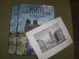 """Duby (Direction), Georges und Guy Lobrichon (Collaboration): LIVRE: HISTOIRE DE PARIS PAR LA PEINTURE + GRAVURE ORIGINALE / ORIGINAL-GRAPHIK : """"La Tour St. Jacques a Paris"""" *."""