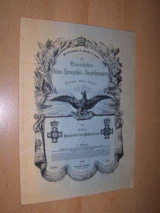 Schneider, L. und Werner Sauer: Die Preussischen Orden, Ehrenzeichen u. Auszeichnungen Geschichtlich, Bildlich, Statistisch - Der Königliche Hausorden von Hohenzollern.