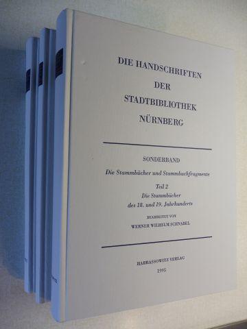 Schnabel, Werner Wilhelm: DIE HANDSCHRIFTEN DER STAATSBIBLIOTHEK NÜRNBERG - SONDERBAND: Die Stammbücher und Stammbuchfragmente - Die Stammbücher des 16., 17., 18. und 19. Jahrhunderts (Teil 1 - Teil 2) + Indices (Register). 3 Bände. Komplett.
