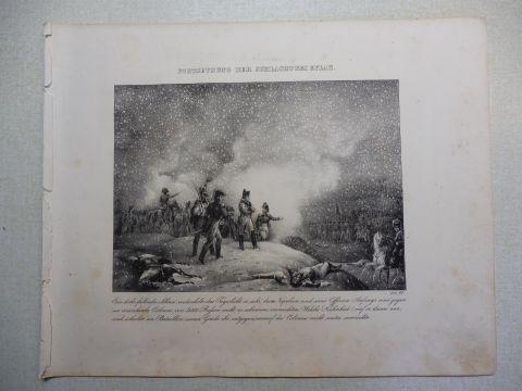 Vogel (?) und R. Fay: NAPOLEON-GRAPHIK: FORTSETZUNG DER SCHLACHT BEI EYLAU *. Ein dicht fallender Schnee verdunkelte das Tageslicht so sehr, dass Napoleon und seine Offiziere Anfangs eine gegen sie anrückende Colonne von 5000 Russen nicht zu erkennen v...
