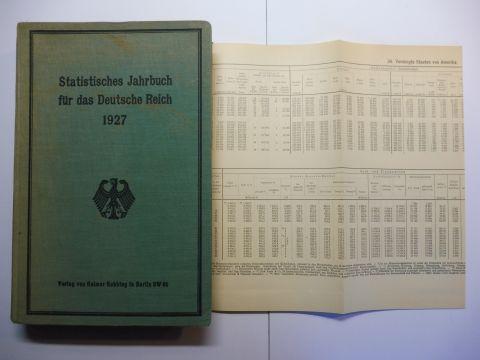 Wagemann: Statistisches Jahrbuch für das Deutsche Reich - Sechsundvierzigster (46.) Jahrgang 1927. Herausgegeben vom Statistischen Reichsamt.
