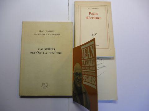 Tardieu *, Jean, Emilie Noulet (1) und Jean-Pierre Vallotton (2): KONVOLUT (3 TITELN) JEAN TARDIEU MIT 1 AUTOGRAPH: 1) Jean Tardieu * par Emilie Noulet (Poetes d`aujourd`hui 109) // 2) CAUSERIES DEVANT LA FENETRE // 3) Pages d`ecriture.