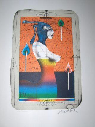 """PAUL WUNDERLICH *. ORIGINAL-LITHOGRAPHIE (8-farb.): """"Kleiner Steindruck"""" Mytholog/Surreal, Frau v. Profil. Handsigniert unt.-rechts mit Bleistift. Numer. 6247/10000."""