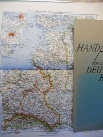 Oestergaard (Verleger), Dr. Peter: HANDATALAS für das DEUTSCHE HAUS von 1943 *. Gr. farb. Karten auf 76 Seiten + Register mit Namenverzeichnis u. Nachweisen auf d. Karten.
