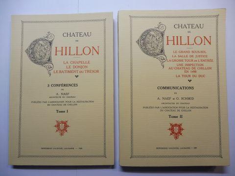 Naef (Architectes du Chateau), A. und O. Schmid: CHATEAU DE CHILLON. Tome I 3 CONFERENCES / Tome II COMMUNICATIONS. 2 Volumes / 2. Bände *. FAKSIMILE/NACHDRUCK. LA CHAPELLE - LE DONJON - LE BATIMENT du TRESOR / LE GRAND SOUS-SOL - LA SALLE DE JUSTICE -...