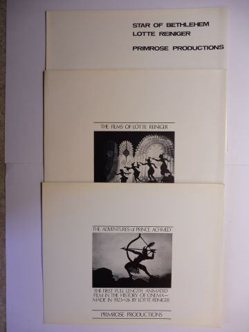 Primrose Film Productions Ltd.: 3 FILM-HEFTE : THE FILMS OF LOTTE REINIGER (1899-1981) - THE ADVENTURE of PRINZ ACHMED (THE FIRST FULL LENGTH ANIMATED FILM IN THE HISTORY OF CINEMA - MADE IN 1923-26 BY LOTTE REINIGER) - STAR OF BETHLEHEM. LOTTE REINIGER *