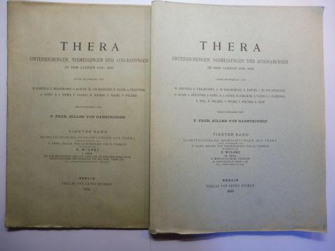 Hiller von Gaertringen, F. (Friedrich) Frhr., P. Wilski (Bearbeitung) und E. Vassiliu: KLIMATOLOGISCHE BEOBACHTUNGEN AUS THERA . I. u. II. TEIL *. 2 BÄNDE (Broschüre). I. TEIL: DIE DURSICHTIGKEIT DER LUFT ÜBER DEM AEGAEISCHEN MEERE NACH BEOBACHTUNGEN D...