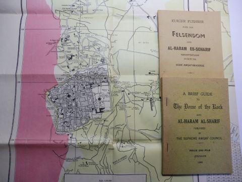 Aref (Auszug), Aref El: KONVOLUT JERUSALEM 60er JAHRE: KURZER FUEHRER FUER DEN FELSENDOM UND AL-HARAM ES SCHARIF // A BRIEF GUIDE TO The Dome of the Rock AND AL-HARAM AL-SHARIF * // Dopp.-Seit.-Karte - TOURIST MAP THE HASEMITE KINGDOM OF JORDAN 1962.