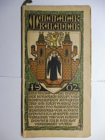 Manz (Verlag), G. J., Otto Hupp (Wappenillustr.) Otto Hupp (Illustr.) u. a.: Münchner Kalender 1902 *.